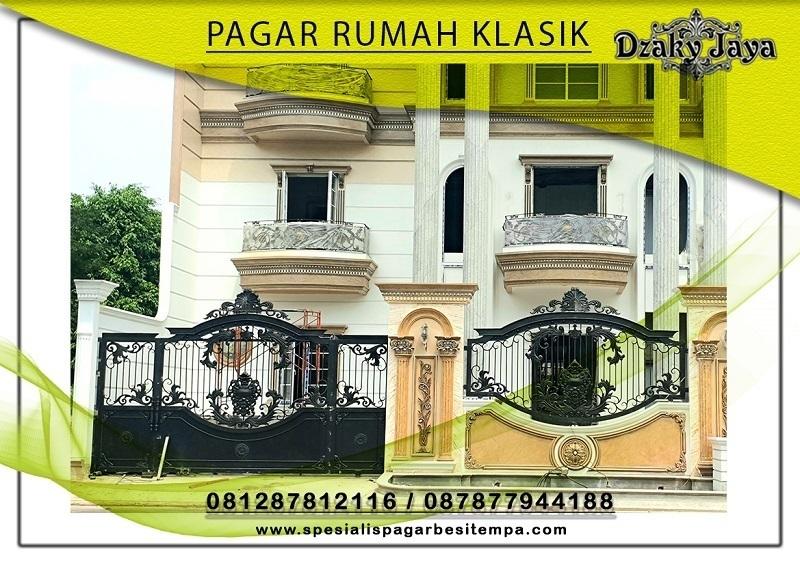 pagar rumah mewah klasik dengan pagar tempa