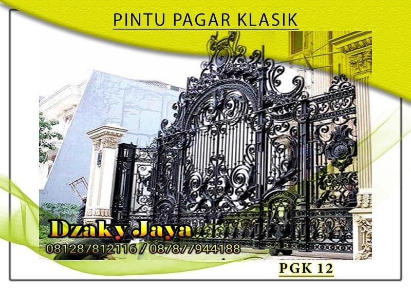 Pintu pagar besi tempa klasik 3D mewah di Jakarta.